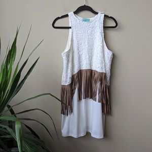 Judith March Floral Fringe Sleeveless Tunic Dress